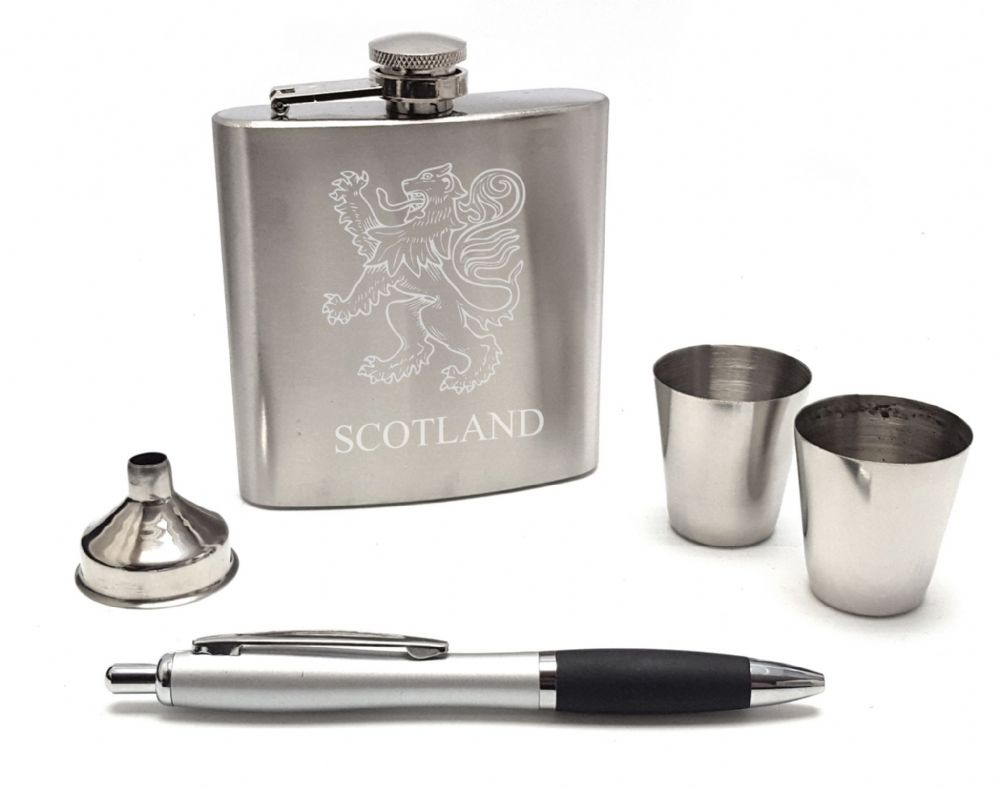 Scottish Rampant Lion Hip Flask Gift Box Set  2 Cups & Pen Mens Scotland  Engravable